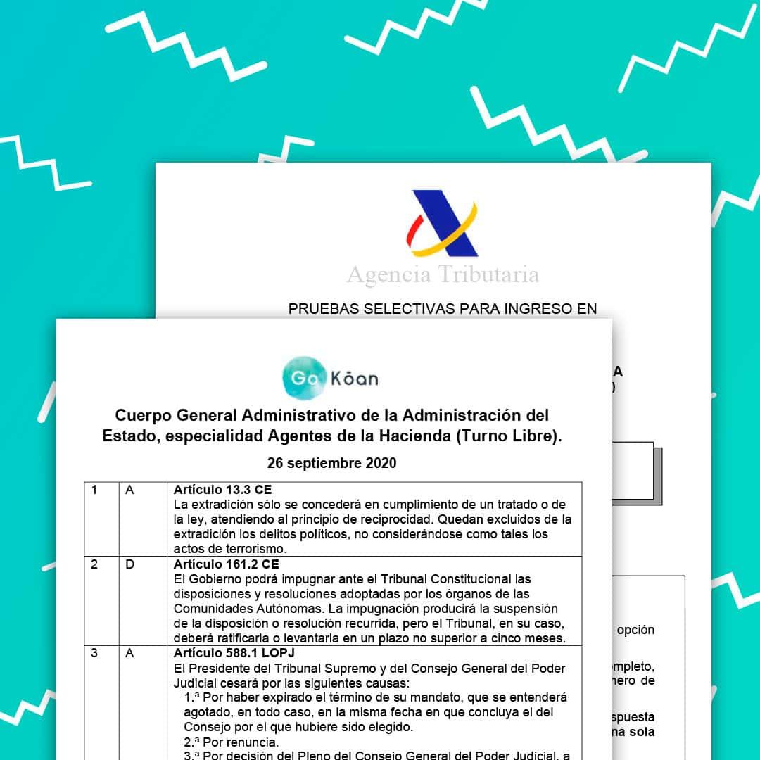 Plantilla correctora examen oficial Agente de Hacienda Pública