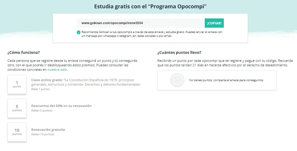 Con el Programa Opocompi podrás ganar premios y descuentos invitando a tus amigos y conocidos a suscribirse en GoKoan